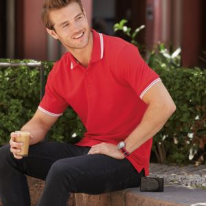 Fruit of the Loom Premium Tipped Cotton Piqué Polo Shirt Thumbnail