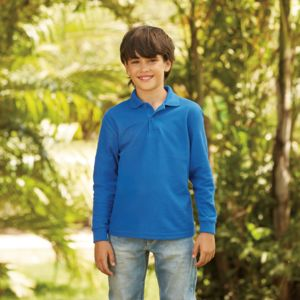 Fruit of the Loom Kids Long Sleeve Poly/Cotton Piqué Polo Shirt Thumbnail